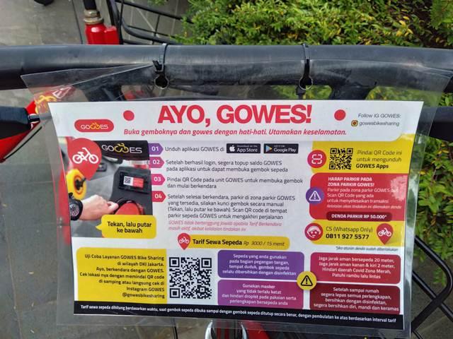 Petunjuk cara menggunakan sepeda Gowes