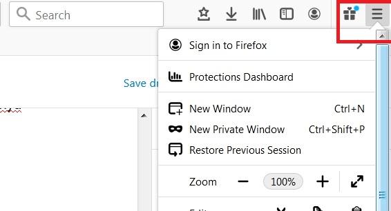 menu browser firefox