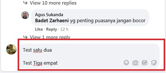 Cara Memberi Spasi Antar Baris atau Paragraf Saat Berkomentar di Facebook 2